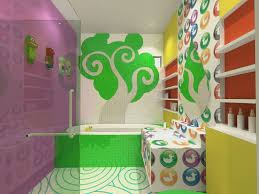 bathroom exquisite colorful wall combine small wall storage
