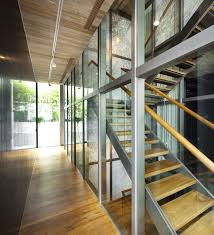 Office Stairs Design by Contemporary Open Corridor Views With Clear Glass Windowed Also