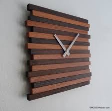 accessories modern wall clocks with striped wood frame for