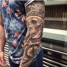king skull full sleeve tattoo amazing tattoo ideas