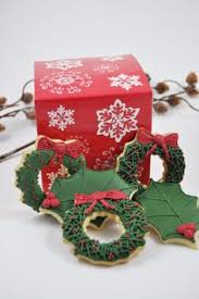 christmas holly one dozen iced sugar cookies christmas