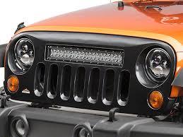 jeep jk hood led light bar cliffride wrangler holcomb grille w 22 in led light bar 19004 07