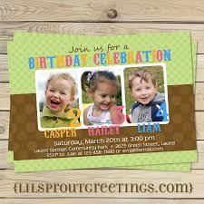 caillou birthday invitations joint twin triplet photo birthday invitation 18 00 via etsy