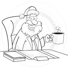 cartoon santa claus drinking coffee black and white line art by