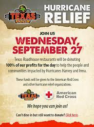 texas roadhouse donates all profit wednesday to hurricane relief