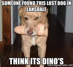 Lost Dog Meme - someone found this lost dog in lansdale think its dino s dildo dog