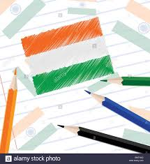Flag Book Indian National Flag Sketch On Note Book Paper For Republic Day