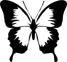 free simple butterfly black and white hanslodge clip collection