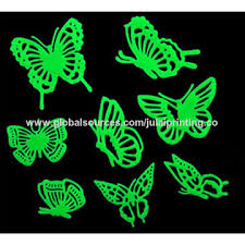 glow in the stickers china 3d butterfly fluorescent luminous stickers glow