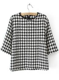 houndstooth blouse black white houndstooth neck crop blouse sheinside com