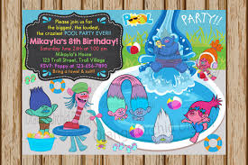 Invitation Card For Pool Party Trolls Pool Party Birthday Invitation Trolls Birthday Invite