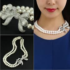 pearl necklace double strand images 925 silver bowknot necklace double strand natural pearl choker jpg
