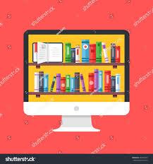 bookshelves books on computer screen desktop stock vector
