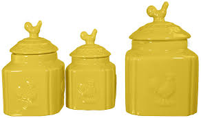turino ceramic rooster canister set yellow