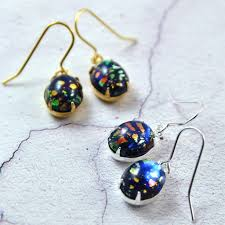 blue opal earrings black fire opal earrings in gold or silver by penny masquerade