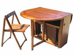 Folding Dining Table With Storage Captivating Folding Table With Chair Storage A Folding Dining