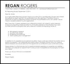 reporting analyst cover letter sample livecareer