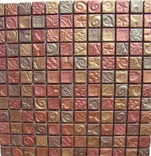 X Autum Leaves Copper Bronze Antique Metallic Glass - Bronze backsplash tiles