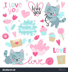 cakes candy and flowers set cute kitten hearts flowers cakes stock vector 545758561
