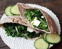 Lunch Recipe Whole Wheat Pita with Kale & Asiago