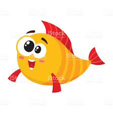 funny golden yellow fish character with smiling happy human face