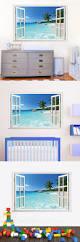 huge removable beach sea window landscape 3d wall sticker home