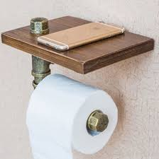 iron pipe toilet paper holder roller wood shelf bathroom
