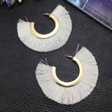 big stud earrings boho cotton tassel alloy big stud earrings loxlux jewelry