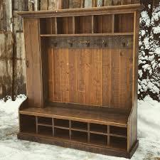 Mudroom Hall Tree by Rustic Reclaimed Hall Tree Locker Bench By Echopeakdesign On Etsy
