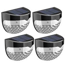 Solar Powered Gate Lights - 4 pack solar lights topelek 6 led solar powered security lights