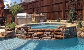 Waterfall Glass Tile Custom Inground Spa Design Spa Gallery Photos Dallas Frisco