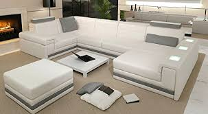 ledercouch design leder wohnlandschaft sofa weiß grau ecksofa ledersofa