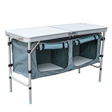 folding table with storage amazon com outsunny aluminum cing folding c table with