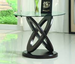 homelegance atkins glass top round end table 3402 04