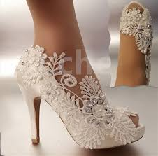 wedding shoes size 11 3 4 heel satin white ivory lace pearls open toe wedding shoes