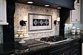 claros silver travertine with metal accent backsplash kitchen