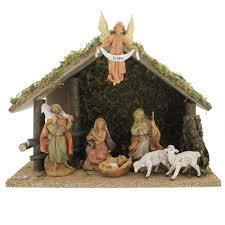 fontanini 7 nativity set with italian wood stable 5 scale