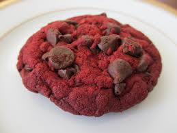 red velvet chocolate chip crunchy cookies made from a cake mix