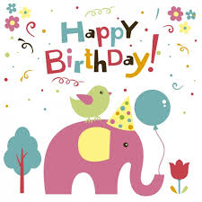 elephant and bird birthday card vector free download