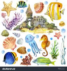 Exotic Theme Exotic Fish Coral Reef Algae Unusual Stock Illustration 291066215