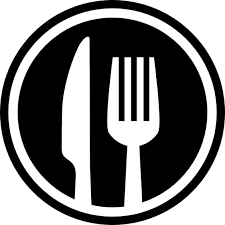 symbole cuisine fourchette et couteau couverts symbole d interface de cercle pour le