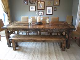 dining room tables with bench marvellous rustic dining table with bench farmhouse trestle