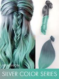 grey hair extensions grey to mint mermaid colorful ombre indian remy clip in hair
