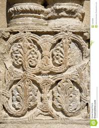traditional georgian floral ornament on bagrati cathedral kutaisi