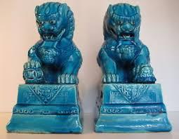 turquoise foo dogs for sale vintage pair turquoise blue porcelain temple lion