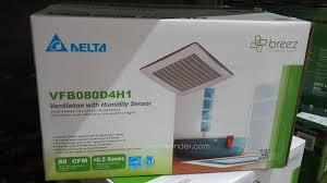 Humidity Sensing Bathroom Fan With Light by Delta Breez Vfb080d4h1 Bath Ventilation Fan System Costco Weekender