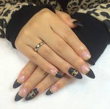 edgy matte black gel nails with nail art youtube