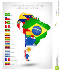 Maps Of South America by Vector Map Of South America With Flags Stock Vector Image 53558913