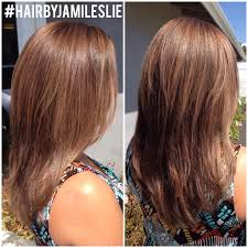 gorgeous copper gold highlights and v shaped haircut with short