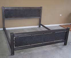 industrial steel structural i beam bed frame diamondplate